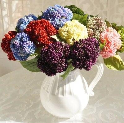 ca0d4a984 10 ألوان الزخرفية عنبية الفاكهة التوت زهرة اصطناعية الحرير الزهور الفواكه ل  لوازم ديكورات زفاف للمنزل الاصطناعي النباتات