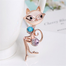 Elegant Crystal Lady Cat Brooch