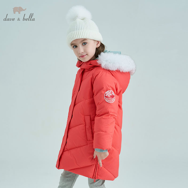 DBK8331 dave bella winter baby girls down jacket children 90% down padded coat kids hooded outerwear with big fur цена 2017