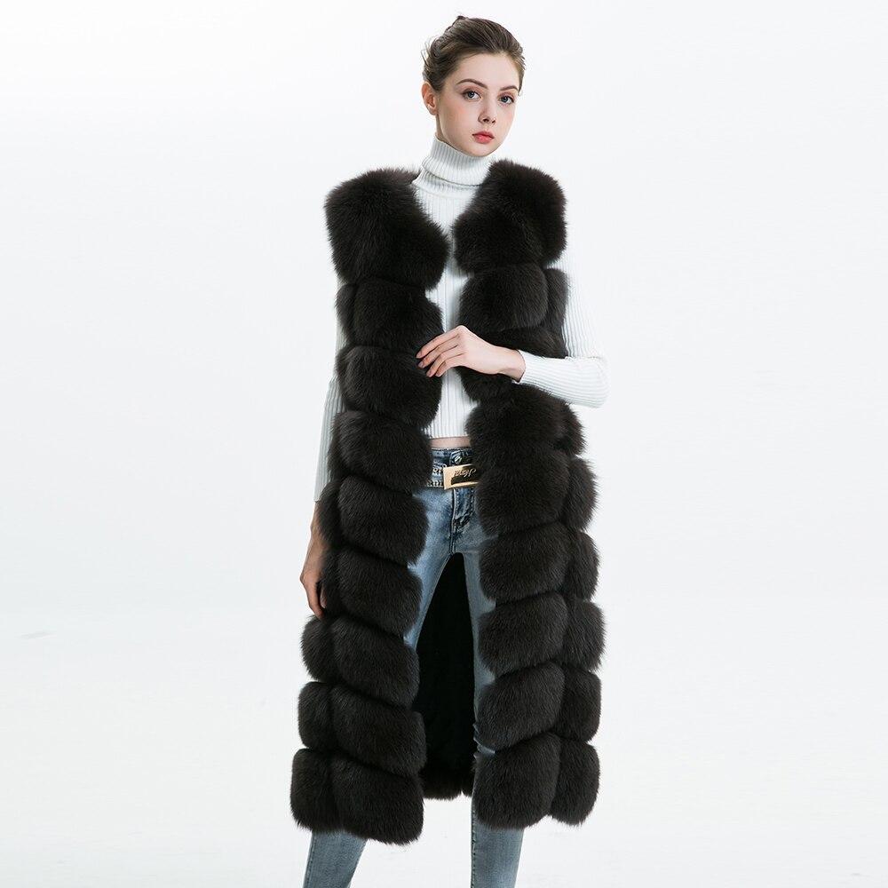 Reale della Pelliccia di Fox Delle Donne Della Maglia 110 cm Lungo del Cappotto di Inverno 2018 di Modo Caldo di Spessore Naturale Pelliccia di Volpe Gilet Femminile Delle Signore genuine Gilet di Pelliccia
