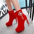 Плюс размер 33-43 красный партии и ночной клуб сапоги botas femininas женщины случайные высокой пятки сапоги с sequine подросток симпатичные обувь