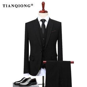 Image 3 - TIAN QIONG 2020 유명 브랜드 남성 정장 웨딩 신랑 플러스 사이즈 4XL 3 개 (자켓 + 조끼 + 바지) 슬림 피트 캐주얼 턱시도 정장 남성