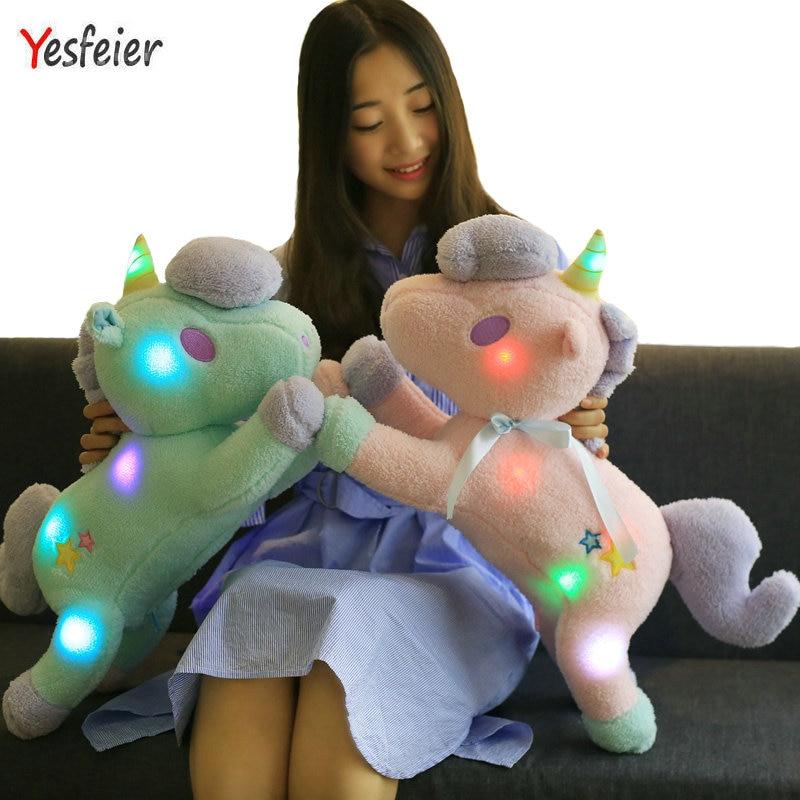 Drop shipping 55cm Light Colorful Unicorn Plush Toy Staffed Luminous Pillow Home Furnishing Decoration Valentines Gift Girls
