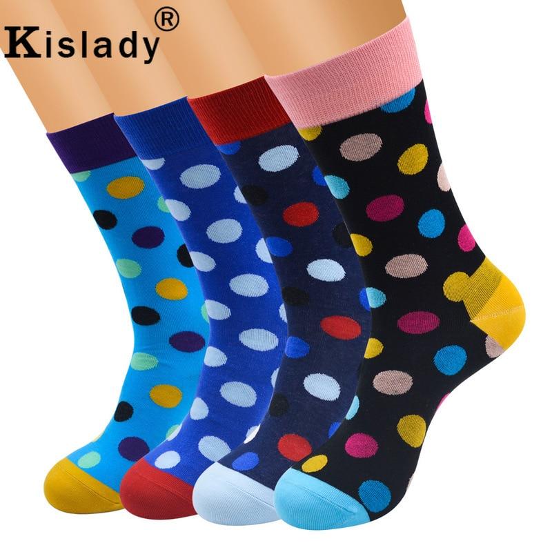 2019 Mens Cotton Colorful Dot Happy Socks Kanye West Harajuku Art Thermal Socks Plus Size Weed Socks Street Fashion Gift For Men