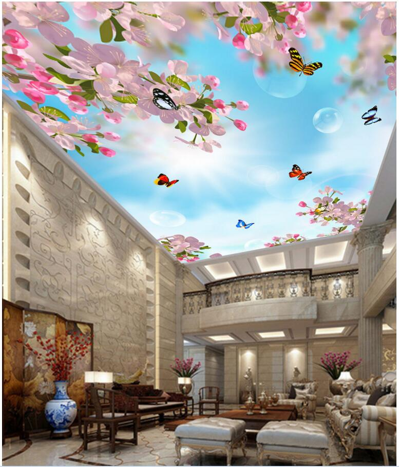 3d room ceiling murals wallpaper custom photo Dream peach flowers butterfly painting 3d wall murals wallpaper for walls 3 d custom photo 3d ceiling murals wall paper blue sky rose flower dove room decor painting 3d wall murals wallpaper for walls 3 d