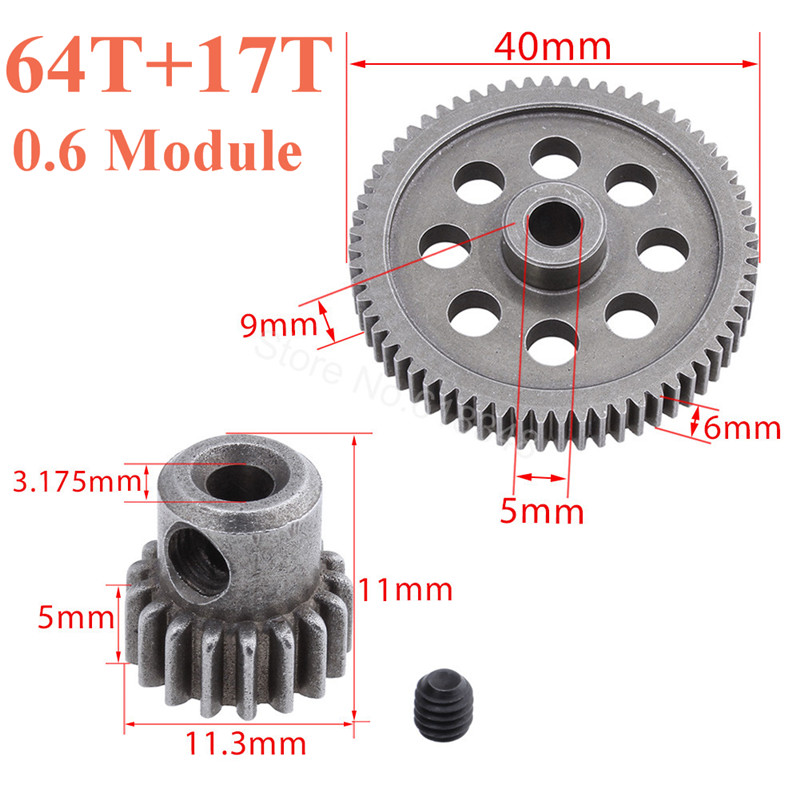Steel 11184 Metal Diff Main Gear 64T & 11119 Motor Gear 17T RC ნაწილები HSP BRONTOSAURUS 1/10 Truck 94111 Redcat Volcano EPX