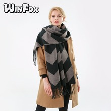 Winfox 2018 New Brand Fashion Black Chevron Wave Cashmere Scarf Shawl With Tassel For Womens Ladies