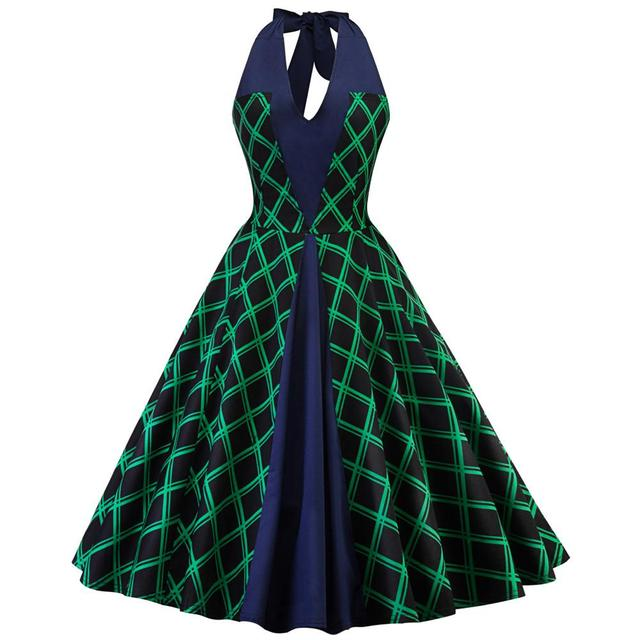 86f53b1443 2018 New Women Vintage Print Green Plaid Halter Tunic Dress Backless  Sleeveless Lady Vintage Pin up