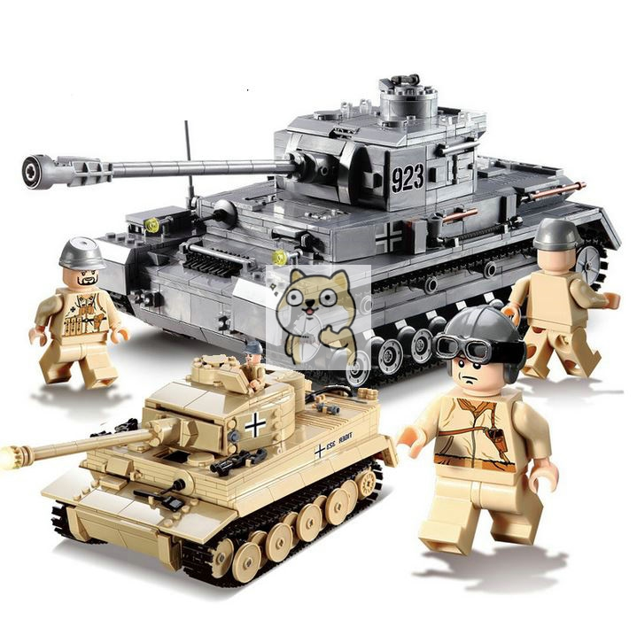 82010 82011 1193 Large Panzer IV Tank Building Blocks DIY Bricks Set Educational Toys For Children Compatible Legoings City tank image