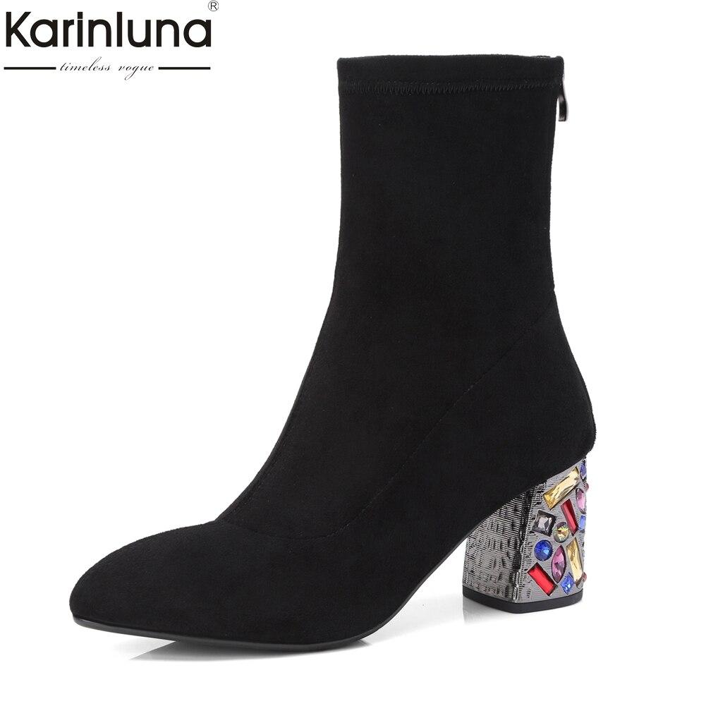 KarinLuna 2018 marca pelle di maiale in pelle donna stivali a metà polpaccio moda cristalli quadrati tacchi alti del partito scarpe da donna