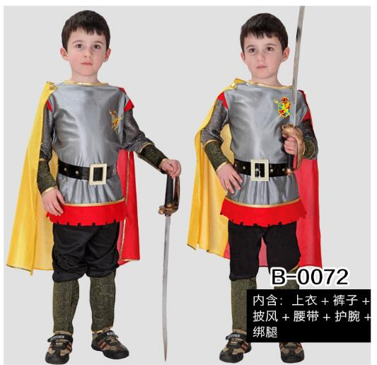Halloween Boy's Gladiator Costume Ancient Roman Seasoned Fighter Medieval Warrior Kids Cosplay Clothing in Stage Show