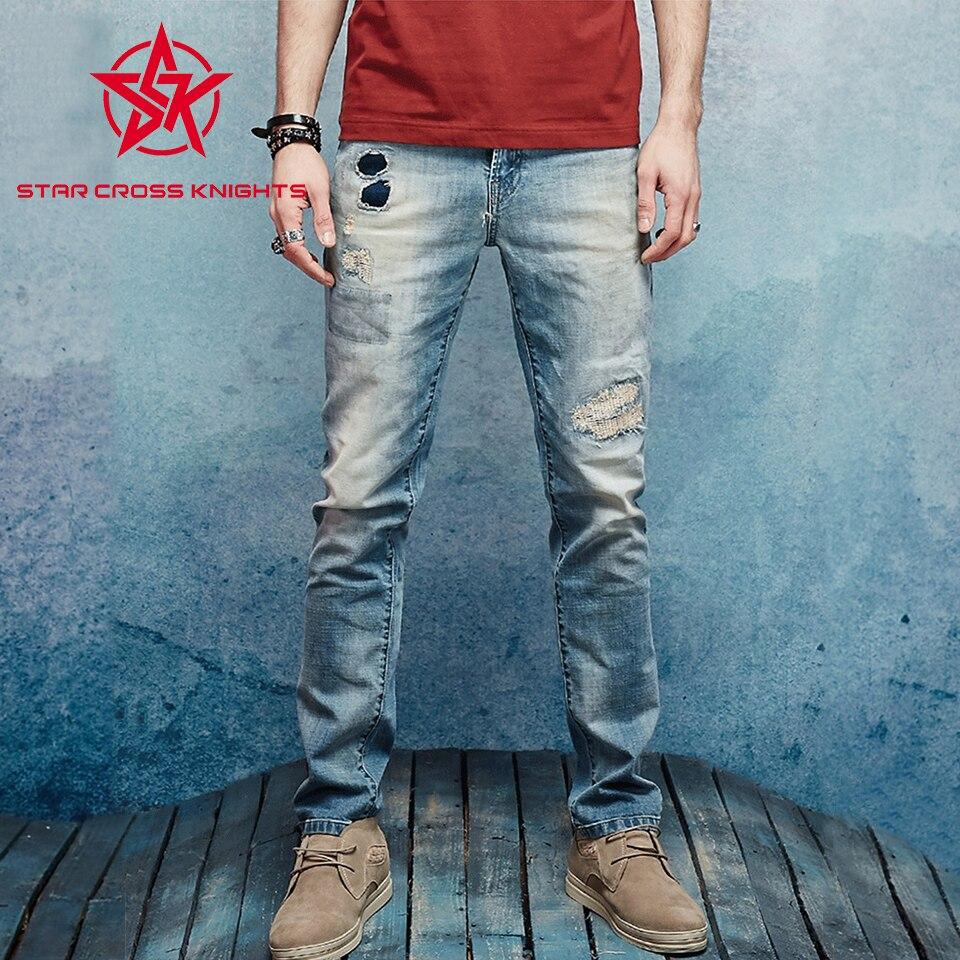 ФОТО Nostalgia Retro Printed Jeans Men Slim Casual Pants Elastic Men`s Jeans LIght Blue Quality Cotton Denim Brand Jeans For Men