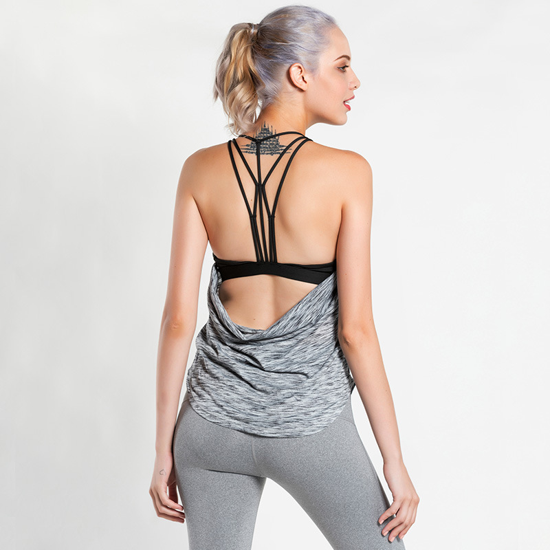 Imlario Womens Sport 2 In 1 Yoga Tank Top Open Back Fitness Shirt Multi-purpose Camisoles Gym Workout Activewear Built in Bra halter open back knot front tank top