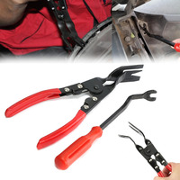 2pcs Set Car Door Upholstery Remover Card Panel Door Upholstery Trim Clip Removal Pliers Pry Bar