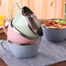 Stainless Steel Noodle Bowl With Handle Food Container Rice Soup Bowls Instant Lid