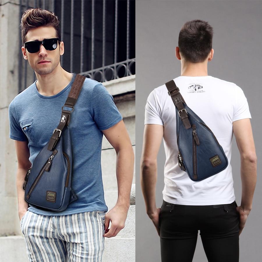 JackKevin Mäns Mode Crossbody Bag Stöldskyddad Roterbar Knapp - Handväskor - Foto 6