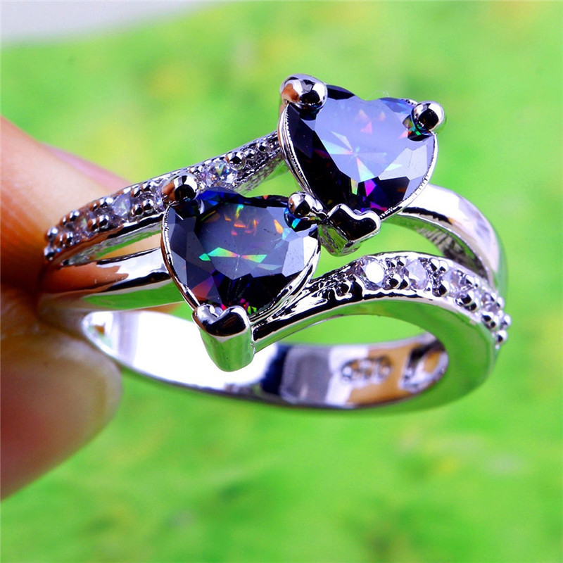 PINKSEE Fashion Love Double Heart Shaped Rainbow White Rhinestone Cubic Zirconia Ring Women Men Engagement Wedding Rings Jewelry ...