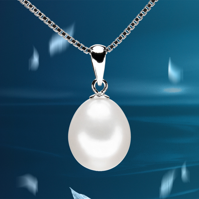 Natural White Freshwater Pearl 925 Sterling Silver Pendant Necklace
