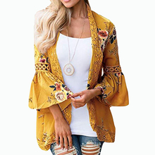 Open Stitch Flare Sleeve Shirts Hollow Out Women Summer Outwear Tops Lace Floral Printed Blouses Beach Plus Size Blusas GV448