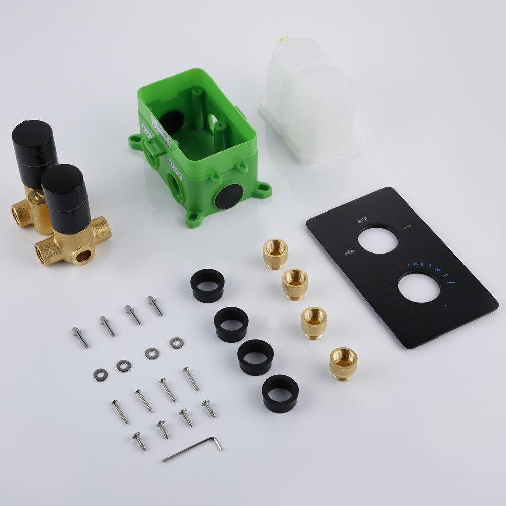 Smesiteli Solid Brass Valve Concealed Thermostat Trim With Two-Way Volume Control Kit Alba Matt Black Thermostatic Rain Shower