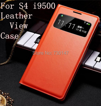 View Window Flip Cover Leather Cases Case For Samsung Galaxy S4 i9500 Dormancy Function Touch View Screen Power On/Off Display image