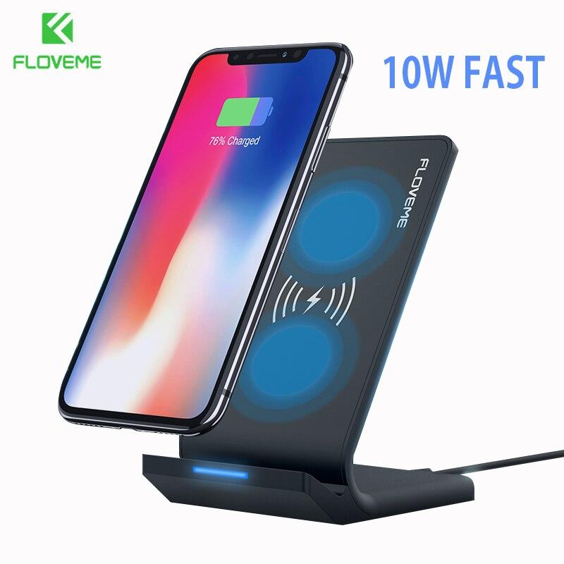 FLOVEME 10 w Caricatore Senza Fili Per iPhone X XR XS Max 8 Plus Wireless di Ricarica Dock Per Samsung Nota 9 8 S9 S8 Più S7 Caricatore USB