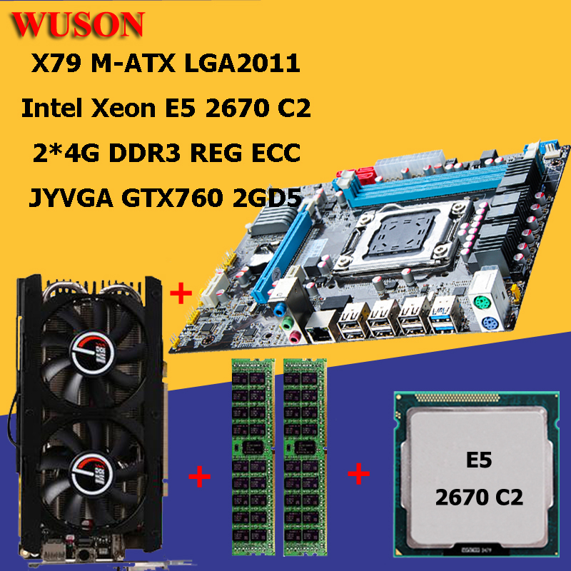 Building PC HUANAN X79 motherboard processor Xeon E5 2670 RAM 8G(2*4G) <font><b>DDR3</b></font> REG <font><b>ECC</b></font> video card GTX760 2GD5 all tested image