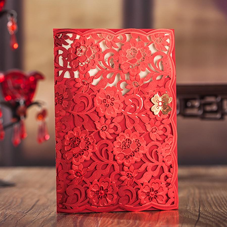 50 個 Wishmade 結婚式の招待状赤色レーザーカット花柄エレガントなブライダルシャワーの招待カード封筒  グループ上の ホーム&ガーデン からの カード & 招待状 の中 1