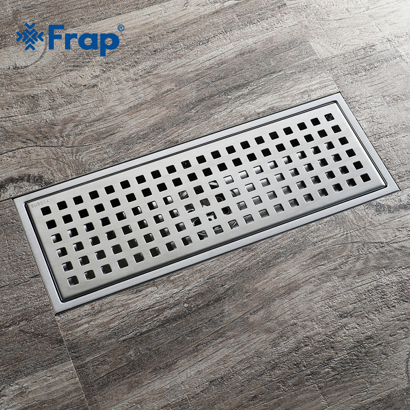 Frap Simple Grid Floor drain 30*11 Stainless Steel Large Flow Drainer Square Shower Drain Waste Grate With Hair Strainer Y38092 stainless steel floor drain waste grate square invisible anti odor bathroom shower drainer strainer 11 11cm