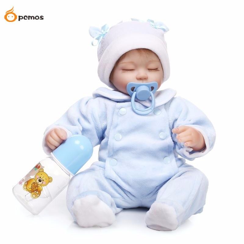 [PCMOS] 17 Lifelike Sleeping Infant Reborn Dolls Silicone Vinyl Handmade Realistic Baby Doll with Pacifier Bottle Toys 16062418 [sgdoll] 2017 new 21 lifelike reborn sleeping baby doll lolita dress up w pacifier cushion feeder free shipping 15110708