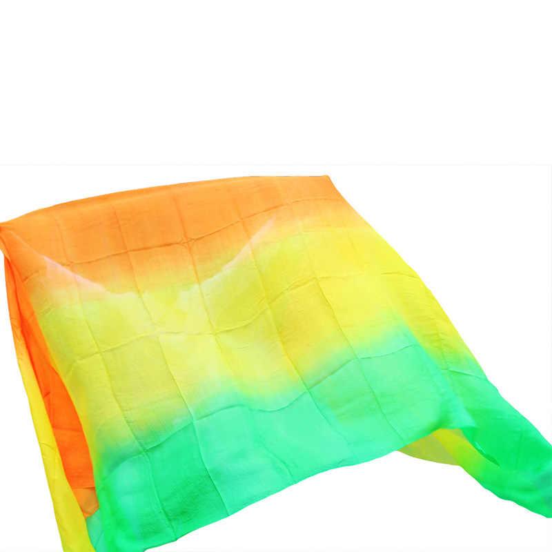 Neue 100% Seide Bauchtanz Schleier Bauchtanz Praxis Leistung Silk Schleier grün + gelb + orange