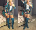 New 2016 Autumn Women Floral Printed Long Sleeve Blazer and Shorts Set Sexy 2 Piece Club Party Short Blazer Suit Tracksuit