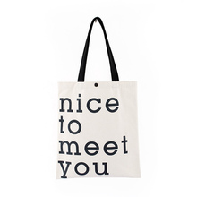 Personality letter printed canvas bag green shopping student casual handbag shoulder storage