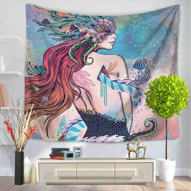 Indian Mermaid Tapestry Printed 150x130cm 150x200cm Wall Decoration Blankets Sheets Table Cloth Polyester Mandala Tapestry Tapiz