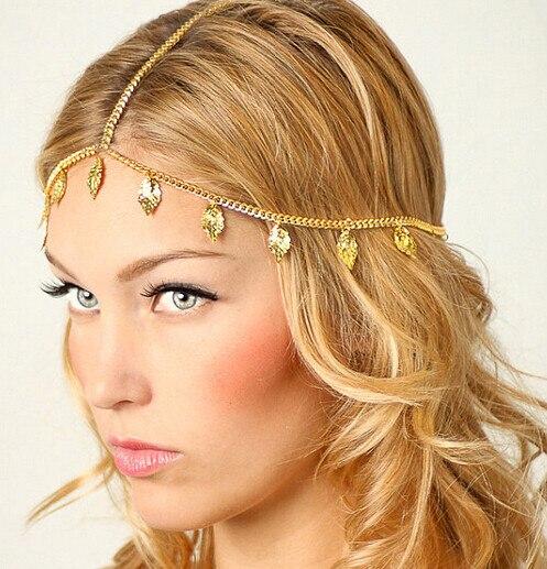Beach Alloy Gold Plated Head Chain Hair Jewelry Tassel Leaf Hair Accesories Indian Boho Headband