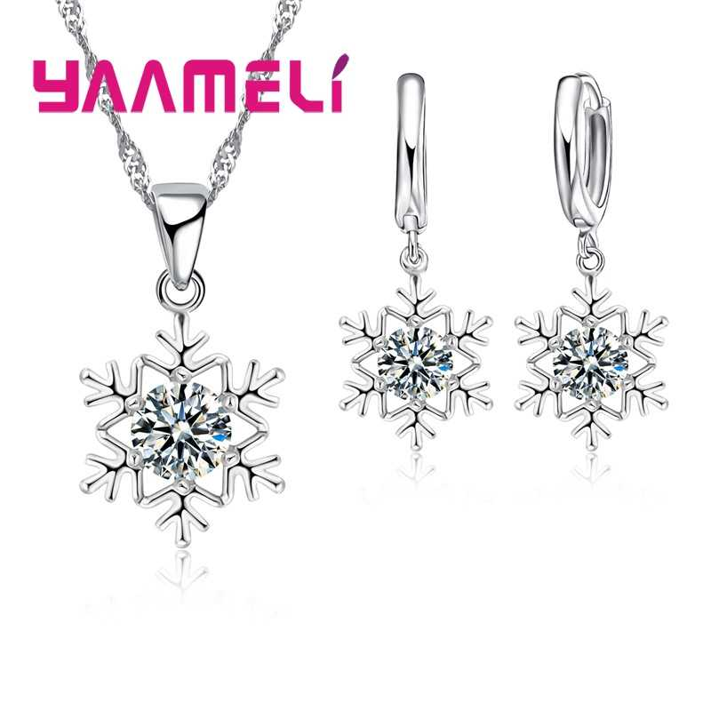 Qualified Snowflake Women 925 Sterling Silver Jewelry Sets Clear Cubic Zircon CZ Crystal Pendant Necklaces Earrings Party Gift