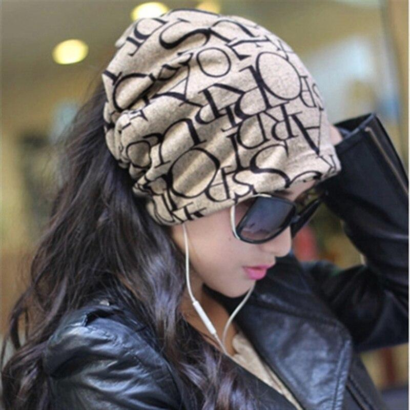 Moda Para Mujer Para Hombre Alphabet Beanie Hat Skull Cap Headwrap Elástico Cuello Caliente de La Bufanda de doble uso