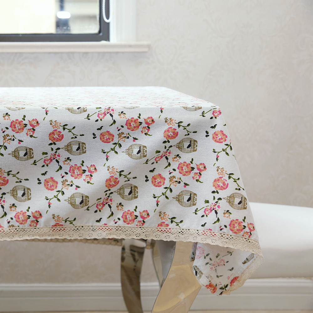 Latest High Grade Eco Friendly Classical Pink Flower Birds Table Cloth  Beautiful Floral Table Cover For Desk Decoration