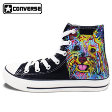 Black Boys Girls Converse All Star Unisex Shoes Colourful Graffiti Dog Original Design Hand Painted Shoes Man Woman Sneakers
