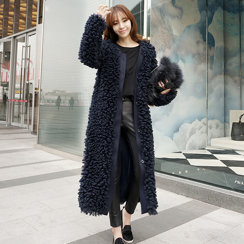 Moda Elegante Abierto Punto De Azul Piel Abrigo Inverno Feminino Las 8qwEOtX