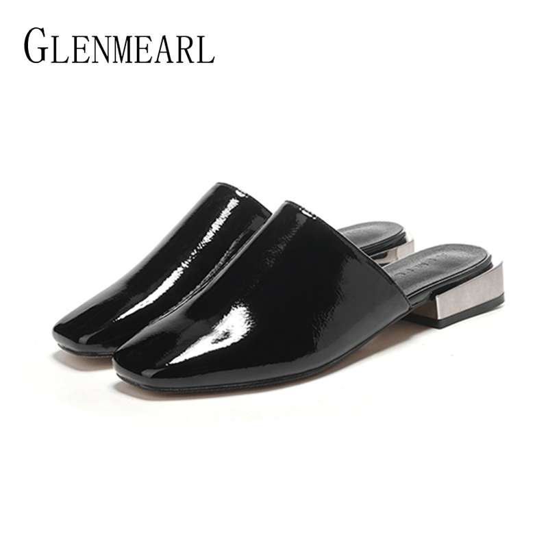 Black Women Slippers Mules Shoes Summer Thick Heels Fashion Square Toe Casual Flat Shoes Female Slides Outdoor Slippers Lady DE cresfimix women cute spring summer slip on flat shoes with pearl female casual street flats lady fashion pointed toe shoes
