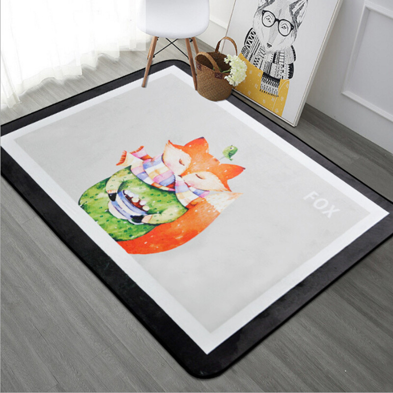 Multi-size Kids Room Decor Carpet Fox Printen Carpets For Living Room Flannel Rug Home Cute Animals Kitchen Anti-slip Soft Rugs
