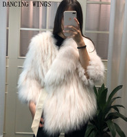 Real Natural Fur Coats Jackets Short Style Women Genuine Raccoon Fur Knitted Warm Winter Coat
