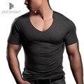 Zeeshant mais l-xxxxl profundo decote em v de fitness body building tees Homem Padrão de Potência sem costura Fina Modal T Camisa em homens camisetas