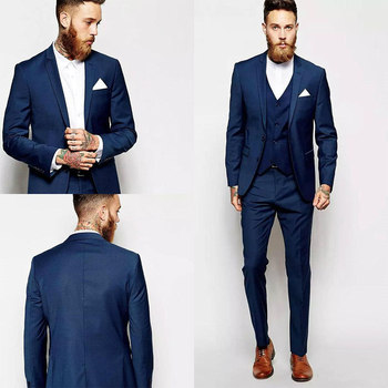 Custom Made Deep Blue Groomsmen Tuxedos Best Man Suit Groom Wedding Tuxedos Formal Party Wear 3 Piece Suits Custom Made