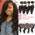 Lace Frontal Closure With Bundles Brazilian Virgin Hair Loose Wave With Frontal Curly Weave 4 Bundles With Ear To Ear Closure