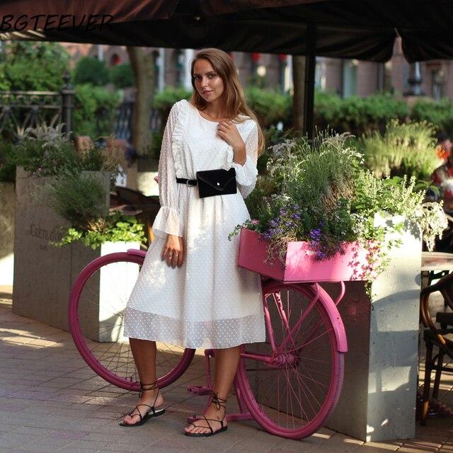 BGTEEVER Ruffles Polka Dot Women Chiffon Dress Elastic Waist Flare Sleeve Female Long Vestidos A-line White Dress 2019 2