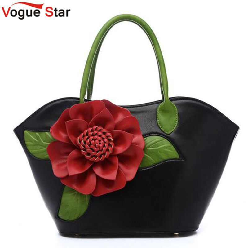 ФОТО Vogue Star 2017 New Flower Women Bag High Quality PU leather Handbags Valentine's Gifts For Woman Fashion Messenger Bag LA467