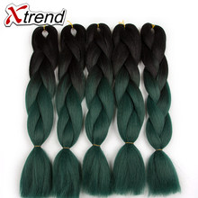 Xtrend 3PCS Black Green Ombre Braiding Hair Extensions 24'' Synthetic Jumbo Braids Crochet Hair For Women High Temperature Fiber(China)