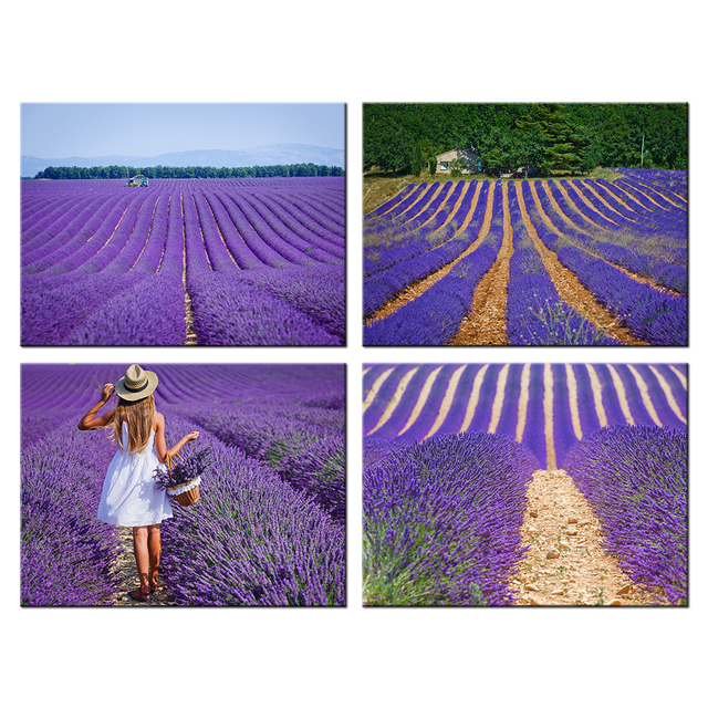 Beliebt HD Imprimer Provence Lavande Champ Paysage Peinture Fille avec  EI83